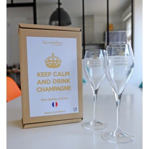 Duo flûtes Keep Calm & Drink Champagne