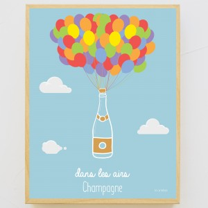 Poster Champagne dans les airs